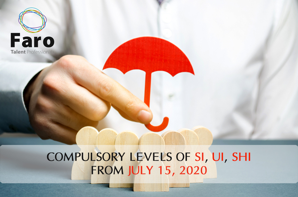 Compulsory levels of Social Insurance, Unemployment Insurance, Health Insurance from July 15, 2020